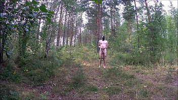 extreme selfbondage walk in forest.