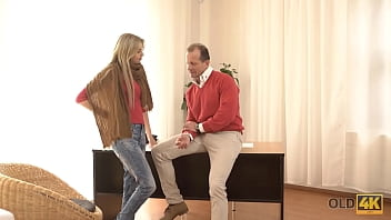 OLD4K. Naive sexpot and handsome old man have great sex at his place