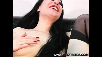 Emo / Goth slut in black stockings and ligerie with toy