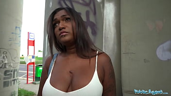 Public Agent Sexy ebony with huge boob and juicy ass rides a big cock in public place
