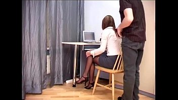 Secretary pantyhose office Secretary office sex in sheer crotchless hosiery