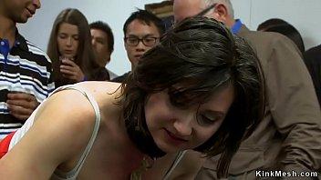 Babes spanked in bondage in public