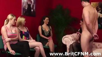 Femdom British chicks watch while friend fucks CFNM amateur guy