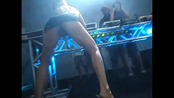 naughty blonde showing her pussy on stage