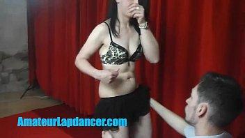 Sexy 19yo brunette lapdances for shy stranger