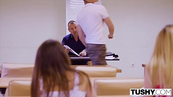 TUSHY Gorgeous brunettes seduce professor in anal threesome 13 min