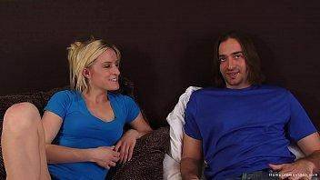 Slutty blonde girlfriend takes her boyfriends dick deep