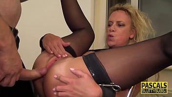 Bound milf sub gets anally pounded
