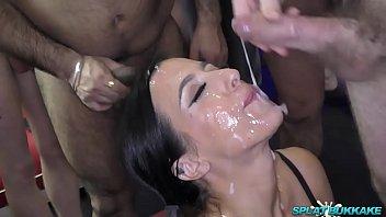Sexy Skyler gets a face full of bukkake cum