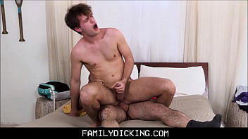 Father son gay videos - Muscle bear step dad teaching his step son after catching him jerking off