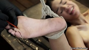 Petite slut tied and tormented