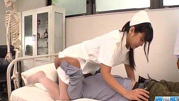 Perfect Asian threesome with curvy ass nurse Yu Shinohara 12 min