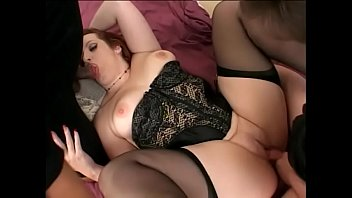 Excellent curvy woman Candy gets two dicks and face covered with semen