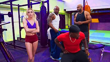 Tiny blonde has to fuck these 3 big black dudes to use the gym...