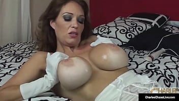 Dick Fucked Cougar Charlee Chase Uses Silky Gloves And A Hitachi Wand!