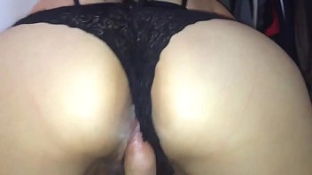 Big ass wife in black thong