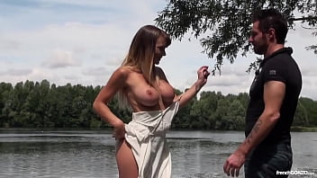 Beautiful busty blonde fucked in public by a lake