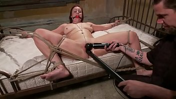 Tied up sub toy fucked while gagged by her master