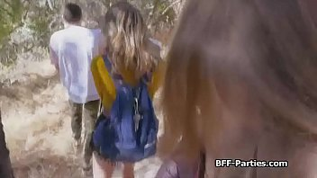 Foursome with slutty teen besties while hiking