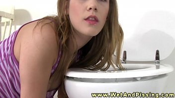 Teens pissing video Licking piss of the toiler seat