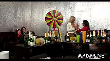 Group of lesbo babes seeking fun having a lustful orgy