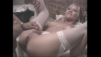 Gorgeous blonde with round tits fucks cancer in the laundry room