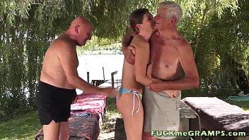 Lisbeth makes two grandpas horny