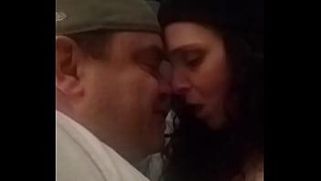 Kissing Goodnight...hot loving amateur couple passionately kissing