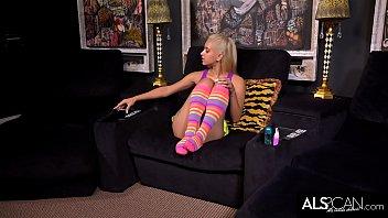 Uma Jolie Cums Toying Shaved Pussy in Tall Socks 10 min