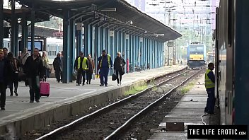 Tall skinny girl almost caught masturbating in public at a train station 12 min