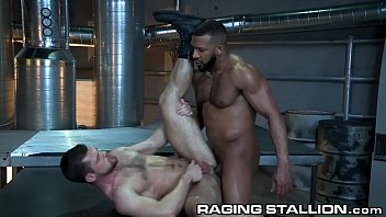 Gay black stallions Ragingstallion black muscle daddy barebacks a white hairy hole