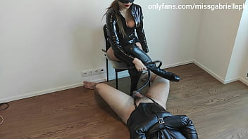 Pathetic Chastity Sub Teased By Femdom Leather Goddess