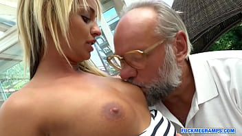Cute blondie pussyfucked by ugly old man