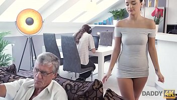DADDY4K. Old and young lovers have spontaneous sex behind guy's back thumbnail