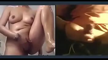 beautiful  Peru girl with big boobs  masturbating in shower  after seeing his boyfriend big dick