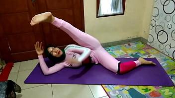 tubecup lesbian Muslim Woman Doing Yoga Stretching