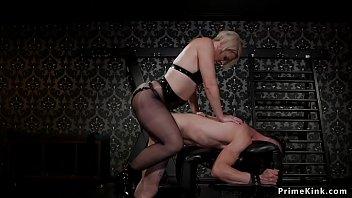 Milf dom in tights anal fucks slave