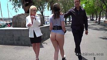 Brunette On Lea sh Disgraced In Public  Public