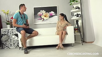 Fit brunette gets some casting action 9 min