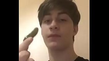 young transgender boy sucks  cucumber so hot 9 sec