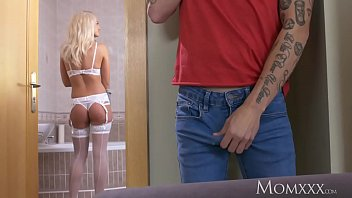 MOM Milf in white lingerie and suspenders dominates and fucks young voyeur - 69VClub.Com