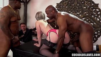 Swinger couple with 2 big black cocks