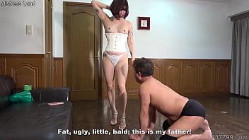 Japanese woman makes a masochist slave pussy lick