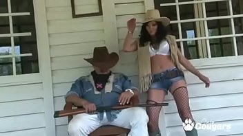 Sexy butts naked small Cowgirl takes her clothes off