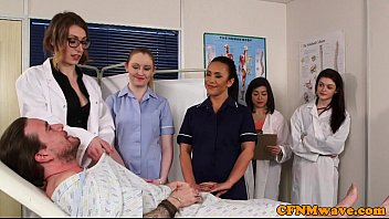 CFNM nurses cocksucking patient in group