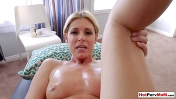 Fisting my hot blonde MILF stepmom on a massage table