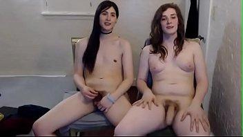 Teen shemale deepthroats friends dick on webcam...
