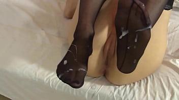LeluLove Stockings Footjob with Cumshot 7 min