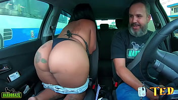 The brunette Patricia Limah takes everything off and shows her giant ass on Ted's ride # 89