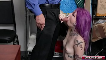 Petite girl gives a blowjob to security